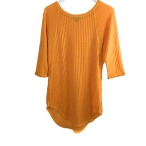 a.n.a waffle knit tunic top marigold size small